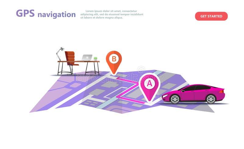 GPS navigation, point location on a city map royalty free illustration