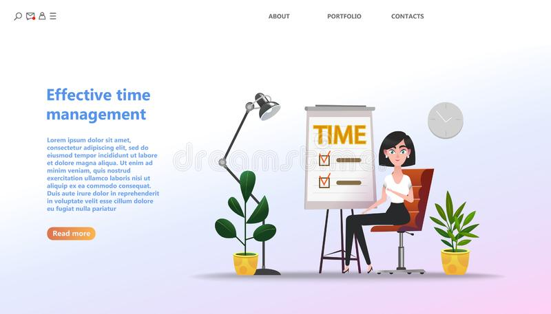 Concept Effective time management, planning training activities stock illustration