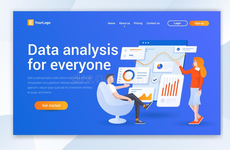 Data Analysis Company Landing Page Design. Modern flat design  illustration concepts of web page design for website. This Web Ui For Data Analysis Company .Data vector illustration