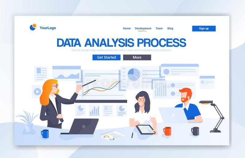 Data Analysis Agency Landing Page Design. Modern flat design vector illustration concepts of web page design for website. This Web Ui For Data Analysis Agency stock illustration