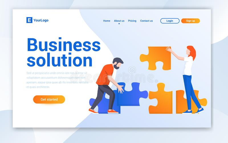 Business Solution Agency Modern flat design vector illustration concepts of web page design for website. This Web Landing Page Template For Business Solution royalty free illustration