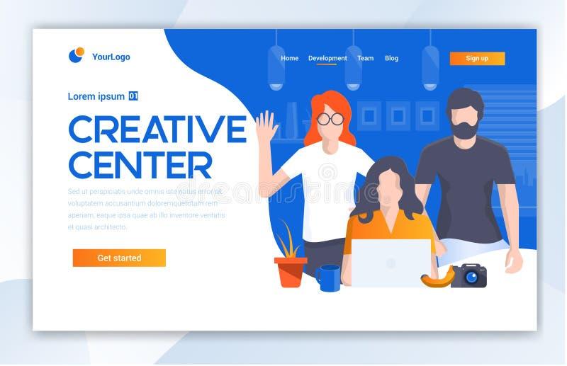 Creative Center website template design. Vector illustration concept of web page design for website and mobile website dev stock illustration