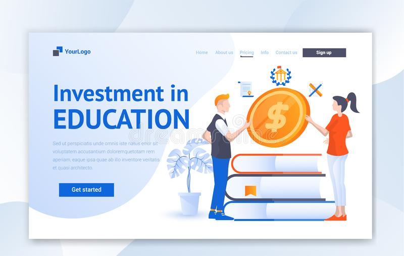 Education Creative website template design for education. Vector illustration concept of web page design for website and mobile we royalty free illustration