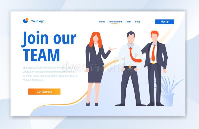 Team Work Creative Center website template design. Vector illustration concept of web page design for website stock illustration