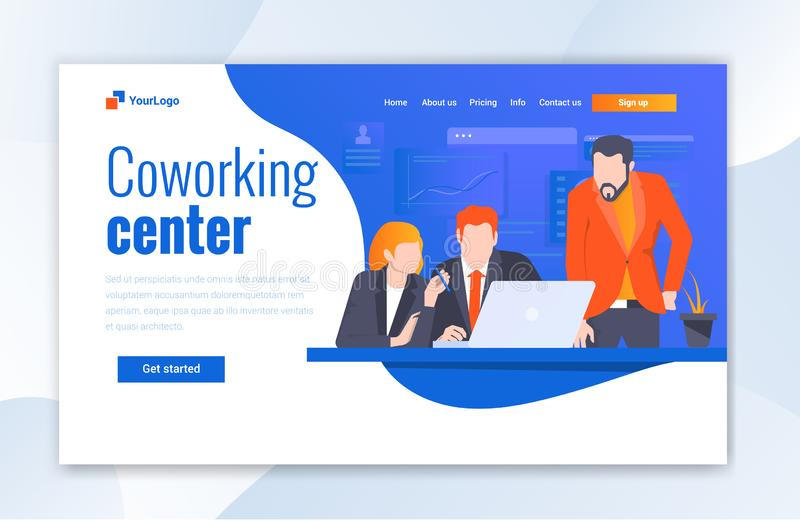 Co-working Center Landing page website template designs. Modern illustration concepts For Web UI. This website For Co-working Center.Co-working Center Landing stock illustration