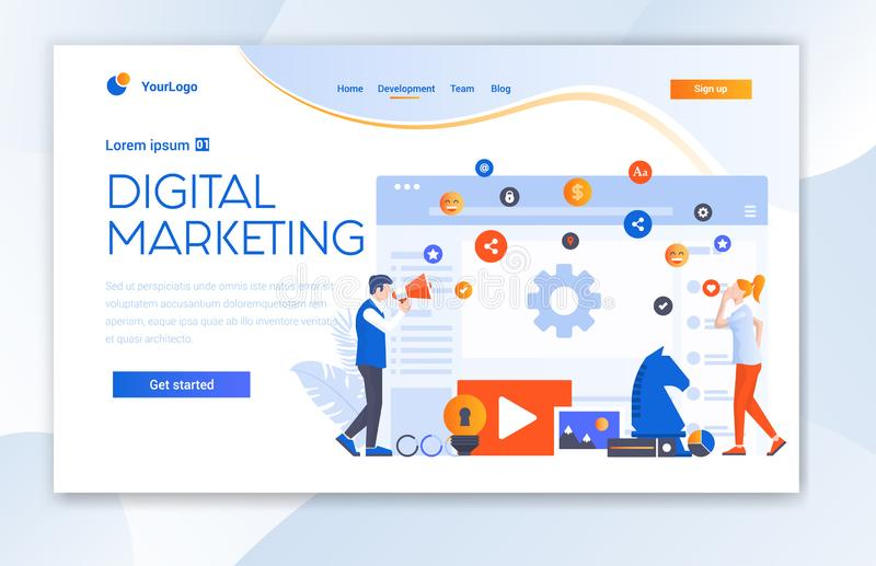 Digital Marketing Agency Website Ui Landing Page Template. stock photo