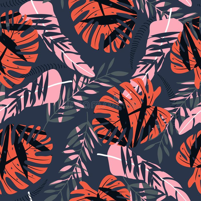 Seamless pattern with colorful tropical plants on dark background. Vector design. Jungle print. Floral background. Seamless pattern with colorful tropical vector illustration