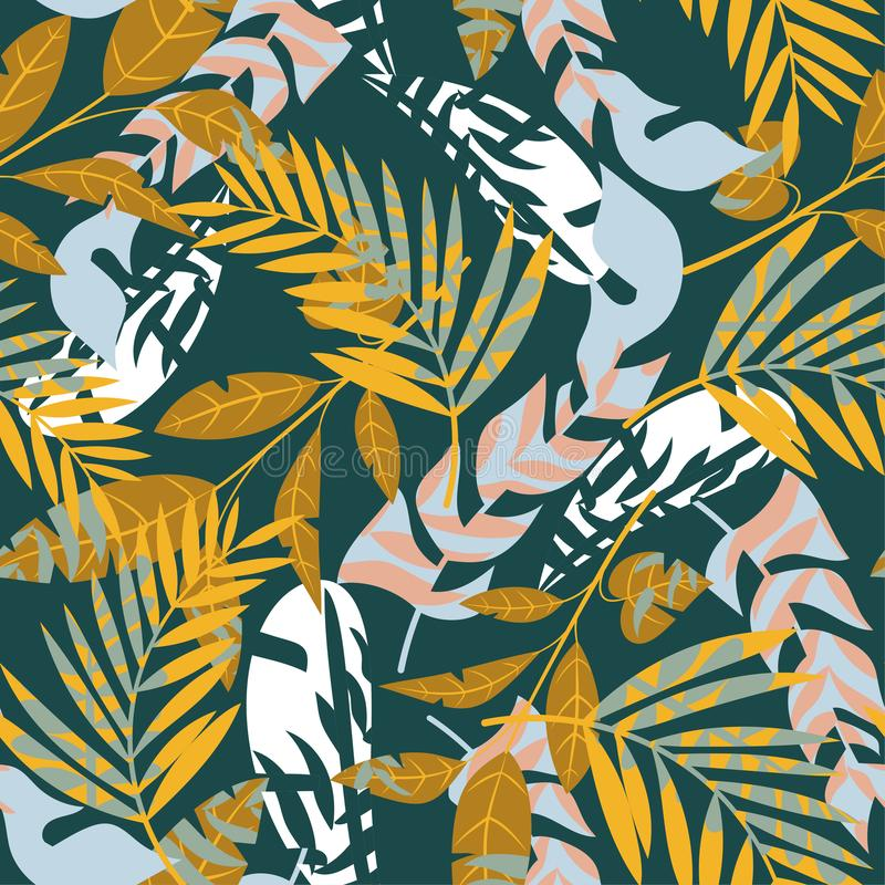 Seamless pattern with colorful tropical leaves on green background. Vector design. Jungle print. Floral background. Seamless pattern with colorful tropical stock illustration