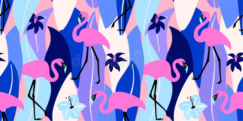 Abstract summer exotic pattern with flamingos and tropical leaves. Vector seamless texture. Trendy Illustration. Abstract summer exotic pattern with flamingos stock illustration