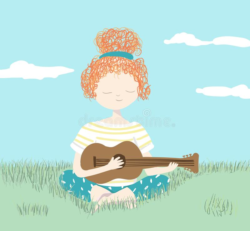 Girl playing guitar relaxing in the garden royalty free stock photo