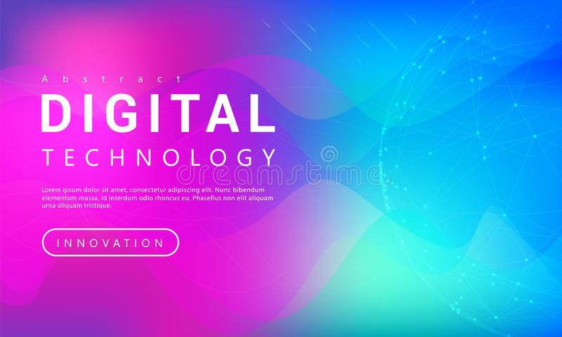Digital technology banner purple blue background concept with world line light effects vector illustration