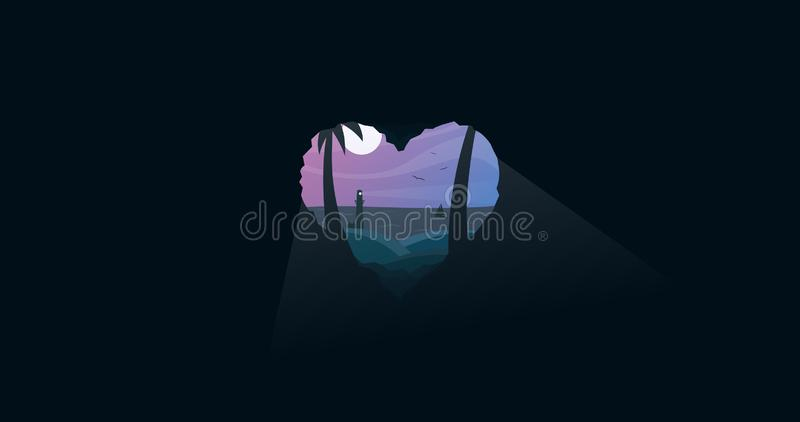 Lovely summer night, heart shaped cave royalty free illustration