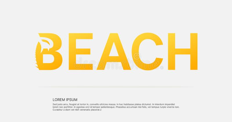 Beach text negative space logo design. stock illustration