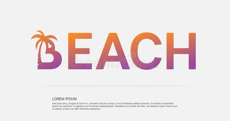 Beach text negative space logo design. royalty free illustration