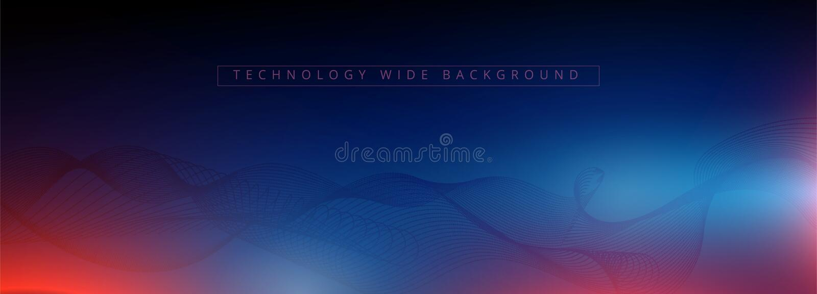 Abstract 3d technology and science neon visualization. Blockchain and cryptocurrency. Digital wallpaper. Business concept. Big dat royalty free illustration