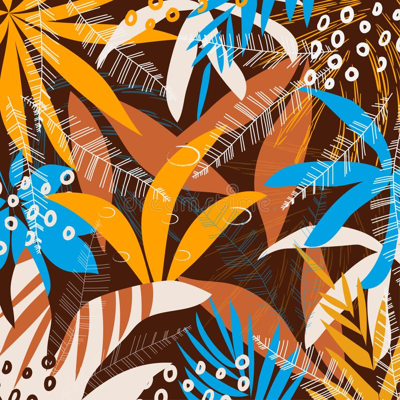 Abstract pattern with tropical leaves and plants on a black geometric background. Vector design. Jungle print. Textiles and printi vector illustration