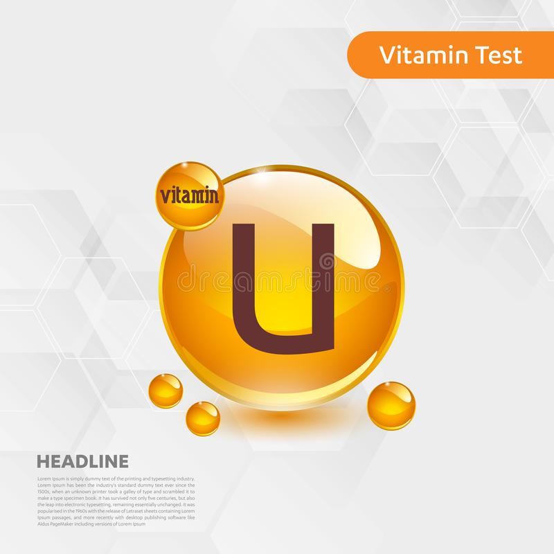 Vitamin U gold shining pill capcule icon, cholecalciferol. golden Vitamin complex with Chemical formula substance drop. Medical f vector illustration