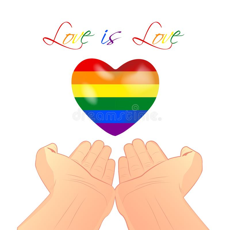 Hands holding rainbow colors heart isolated on a white background. LGBT LGBTI LGBTQ lesbian bisexual gay pride love concept. Love royalty free illustration