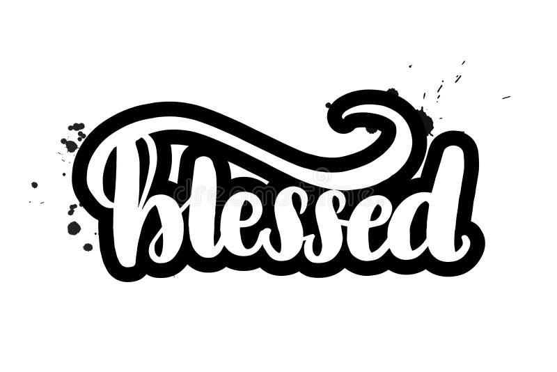 Brush lettering blessed stock illustration