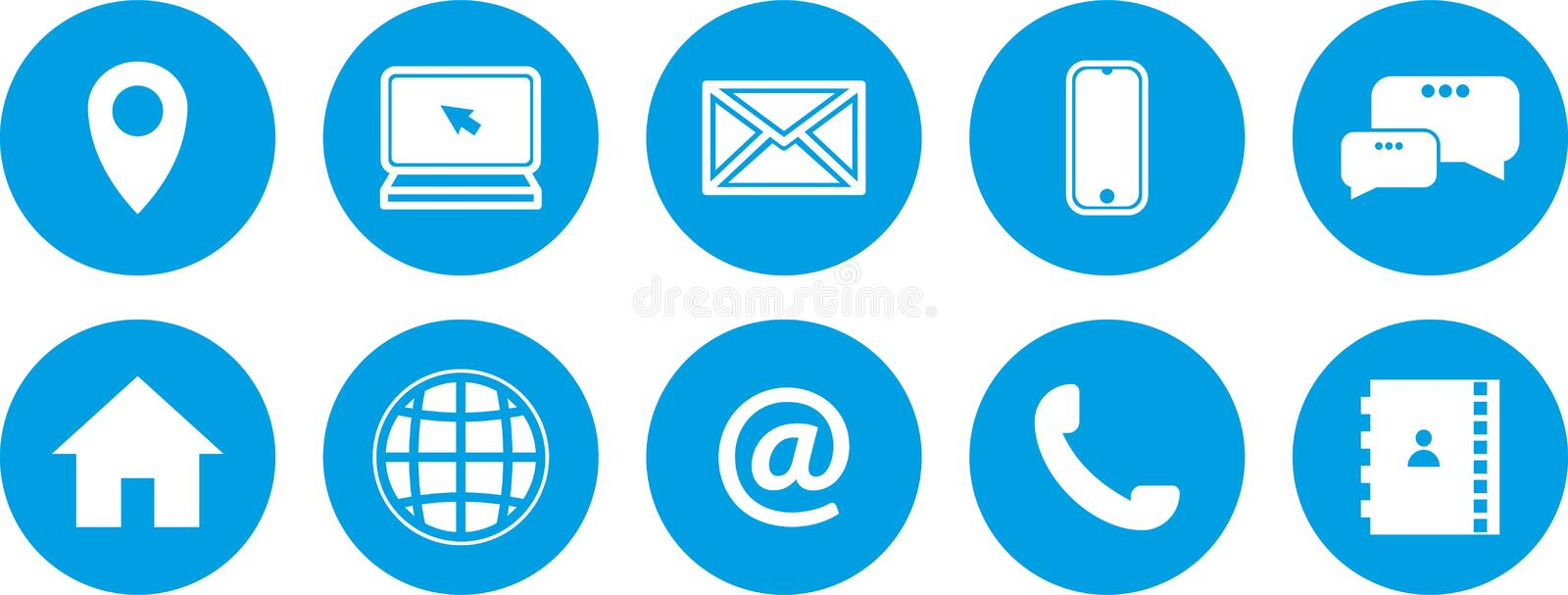 Blue icons set. blue buttons set. new communication icons royalty free illustration