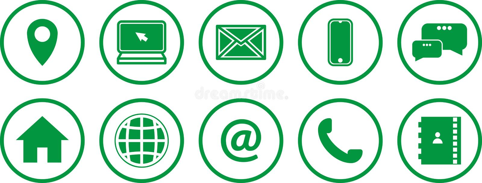 Set of green icons. communications icons. contact us icons vector illustration