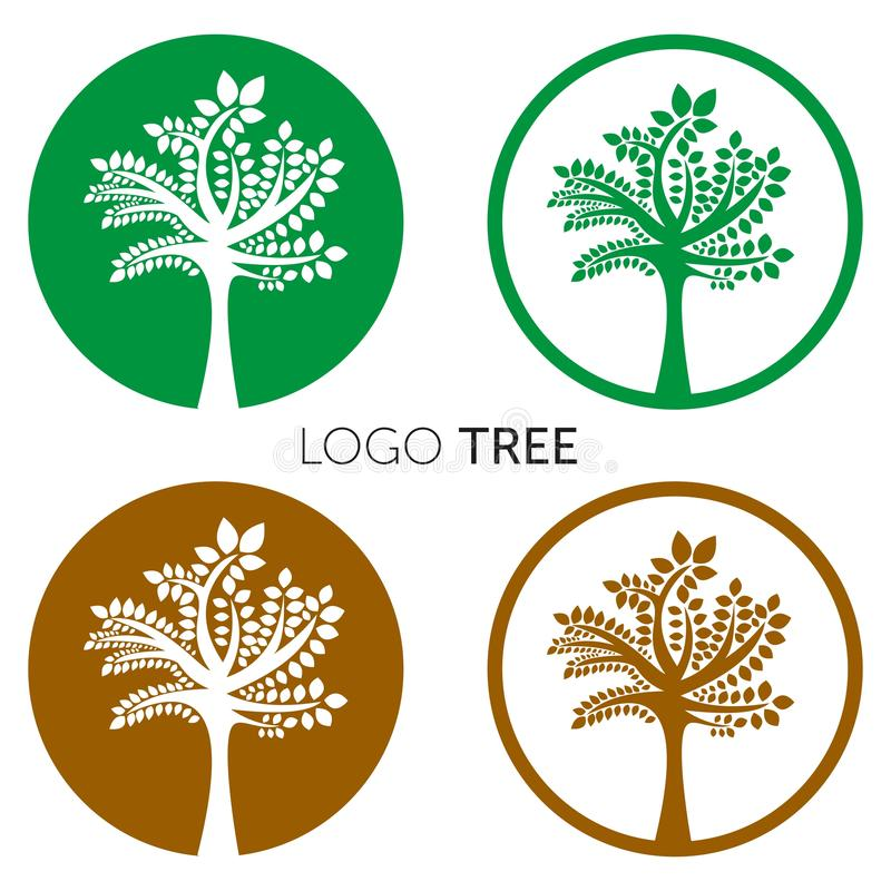 Tree Logo abstract design vector template Negative space style. Eco Green Organic Oak Plant Logotype concept icon. stock illustration