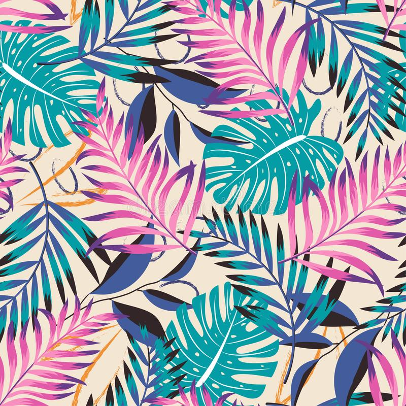 A trending abstract pattern with tropical leaves and flowers on a delicate pastel background. Vector design. Jungle print. Floral. Background. Printing and vector illustration