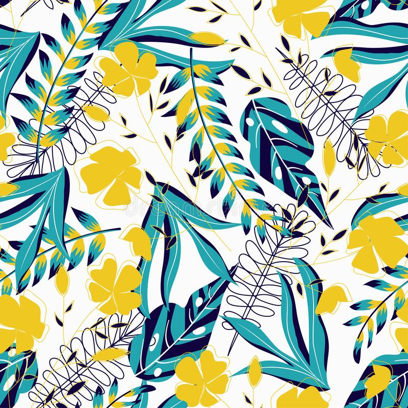 A trending abstract pattern with tropical leaves and flowers on a delicate pastel background. Vector design. Jungle print. Floral. Background. Printing and stock illustration