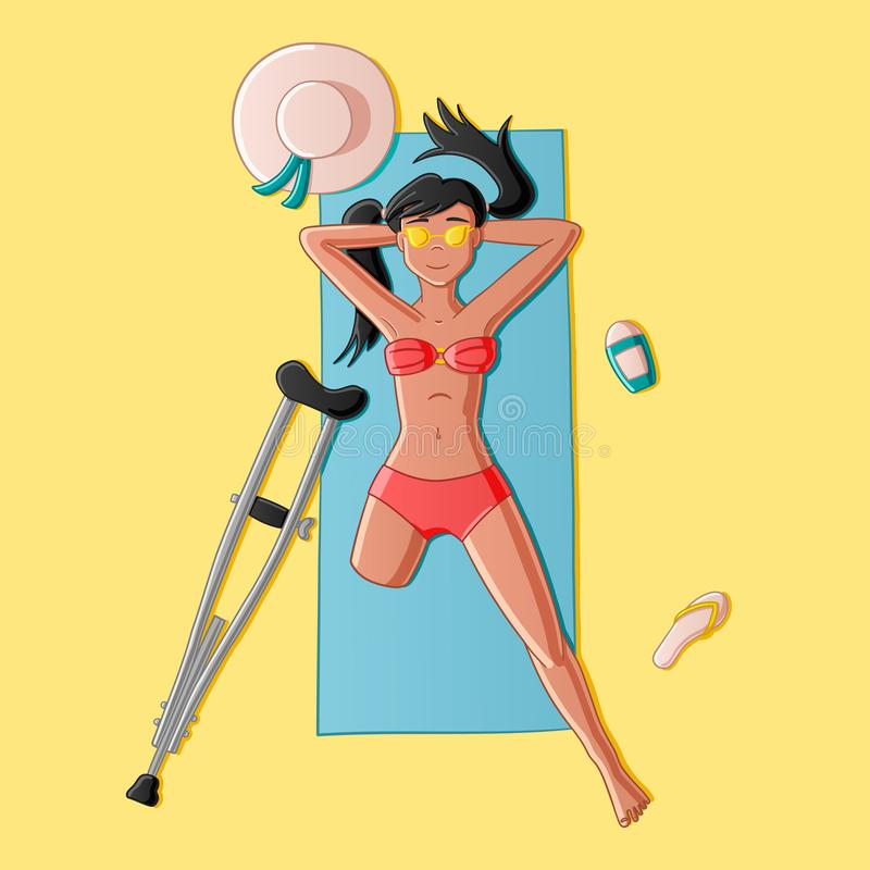 Legless girl on the beach stock illustration