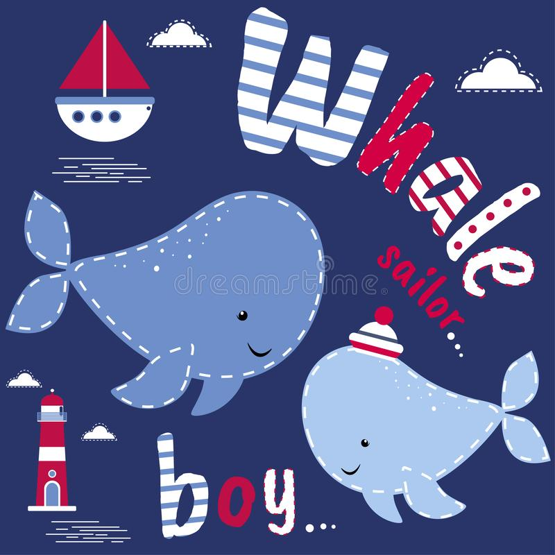 Postcard with whales. Cute character, vector design, marine theme. Colorful vector background. Background with English text, anima. L. Funny card stock illustration