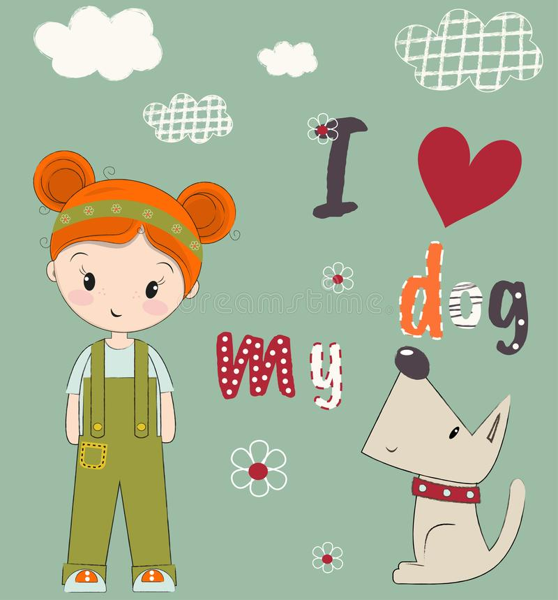 Cute girl and puppy drawn vector illustration. Can be used for printing, baby clothes design, baby shower invitation card. vector illustration