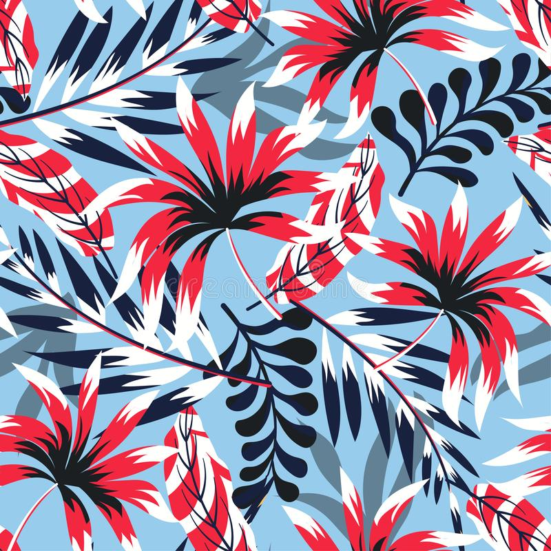 Trending abstract tropical seamless pattern with bright leaves and plants on a light blue background. Vector design. Jungle print. Floral background. Printing vector illustration