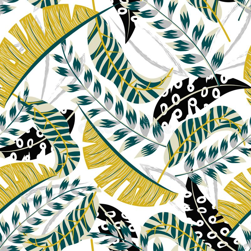 Abstract tropical seamless pattern with bright leaves and plants on white background. Vector design. Jungle print. Floral backgrou. Nd. Printing stock illustration