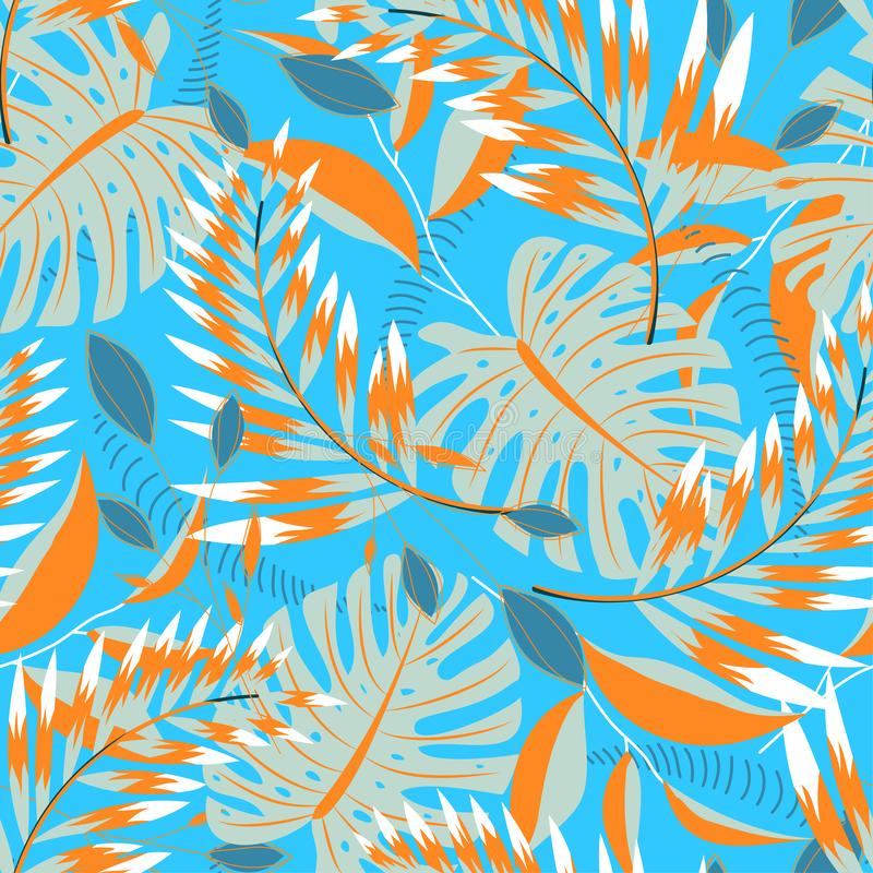 Trending tropical seamless pattern with bright leaves and plants on blue background. Vector design. Jungle print. Floral backgroun. Trending tropical seamless royalty free illustration