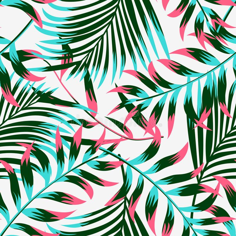 Trending summer tropical seamless pattern with leaves and plants on white background. Vector design. Jungle print. Floral backgrou. Nd. Printingn royalty free illustration