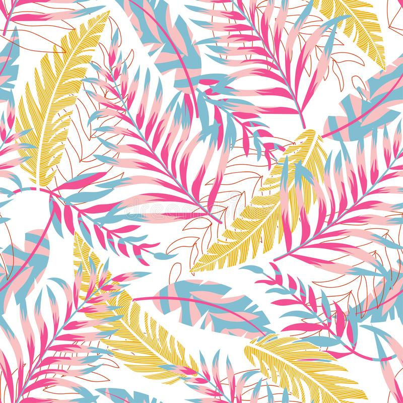 Summer trend seamless pattern with bright tropical leaves and plants on a light background. Vector design. Jung print. Floral back. Ground. Printing vector illustration