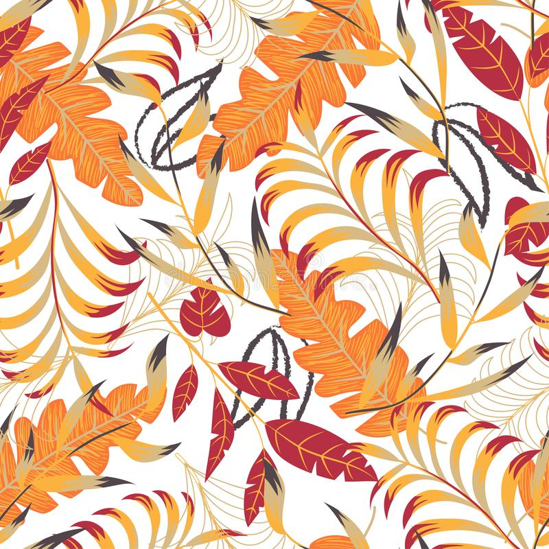 Summer bright seamless pattern with tropical leaves and plants on white background. Vector design. Jung print. Floral background. Printing royalty free illustration