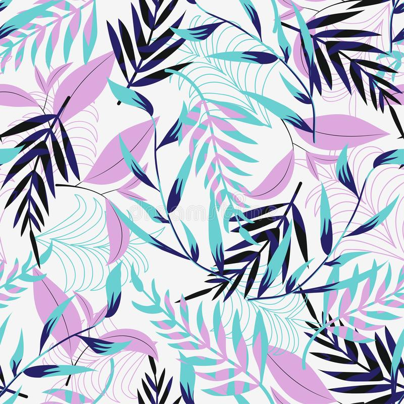 Trend seamless pattern with bright tropical leaves and plants on a light background. Vector design. Jung print. Floral background. Printing stock illustration