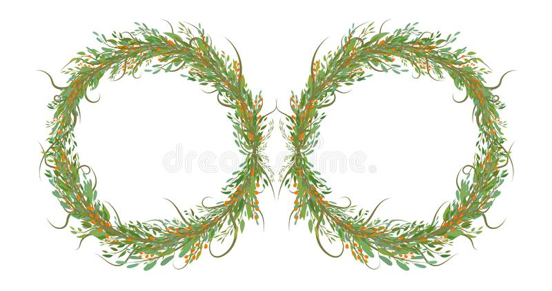 Two circles of flowers with leafs stock illustration