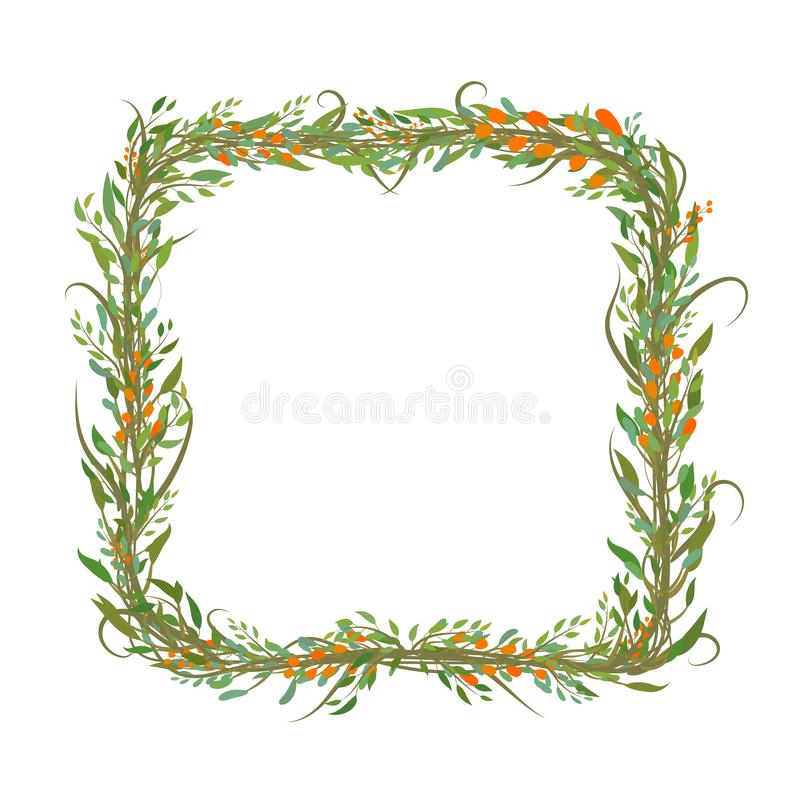 Square shaped frame of leafs and branches vector illustration