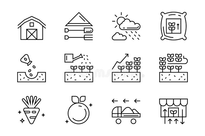 Set of flat line icons for agriculture, farming, harvest, etc. contains such icons seeding, watering, and harvesting for organic f vector illustration