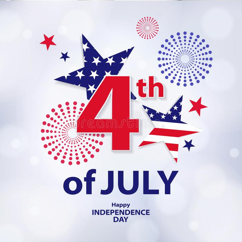 Fourth of July. 4th of July holiday banner. USA Independence Day background for sale, discount, advertisement, web. Place for your text stock illustration