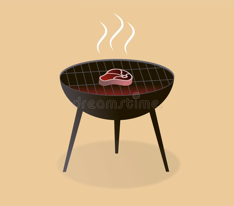 BBQ steak on the grill vector illustration
