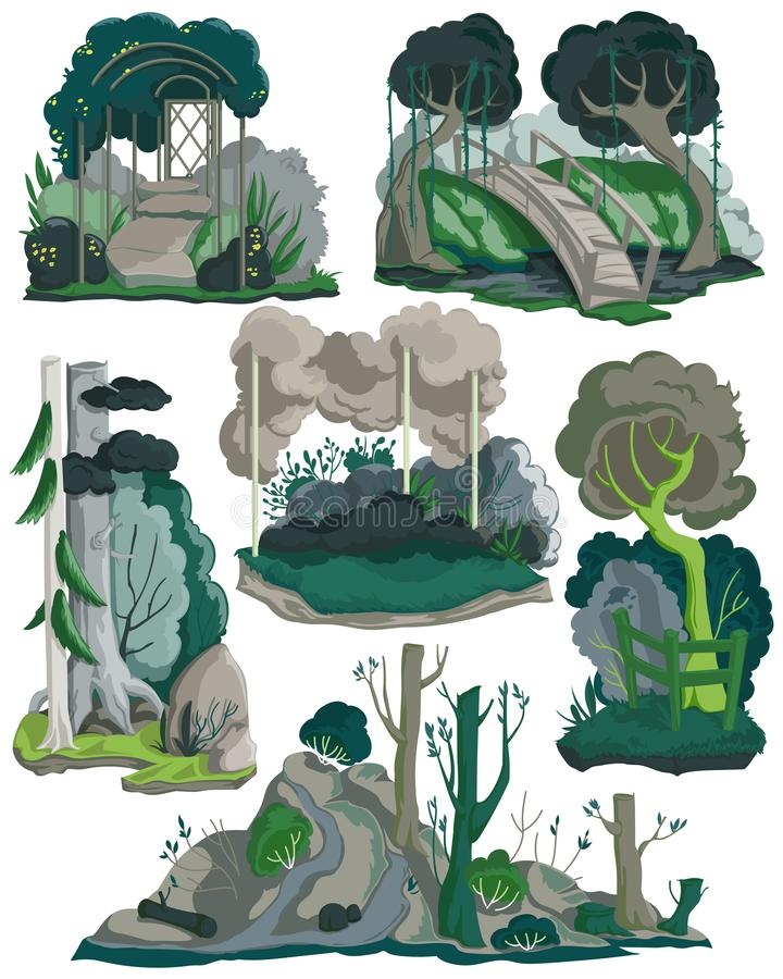 Halloween landscapes set. Creepy garden, forest and meadow scenery with trees, plants, bushes, flowers. Isolated elements on white. Background. Colorful vector stock illustration