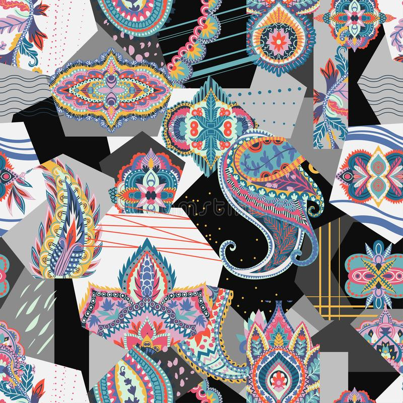 Seamless patchwork pattern with paisley and geometric elements. stock illustration