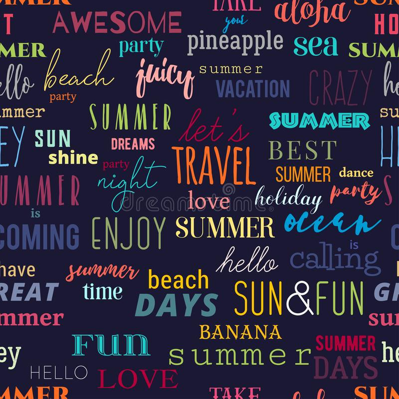 Seamless pattern with summer typography quotes. Colorful design for print, wallpaper, banner, fabric royalty free illustration