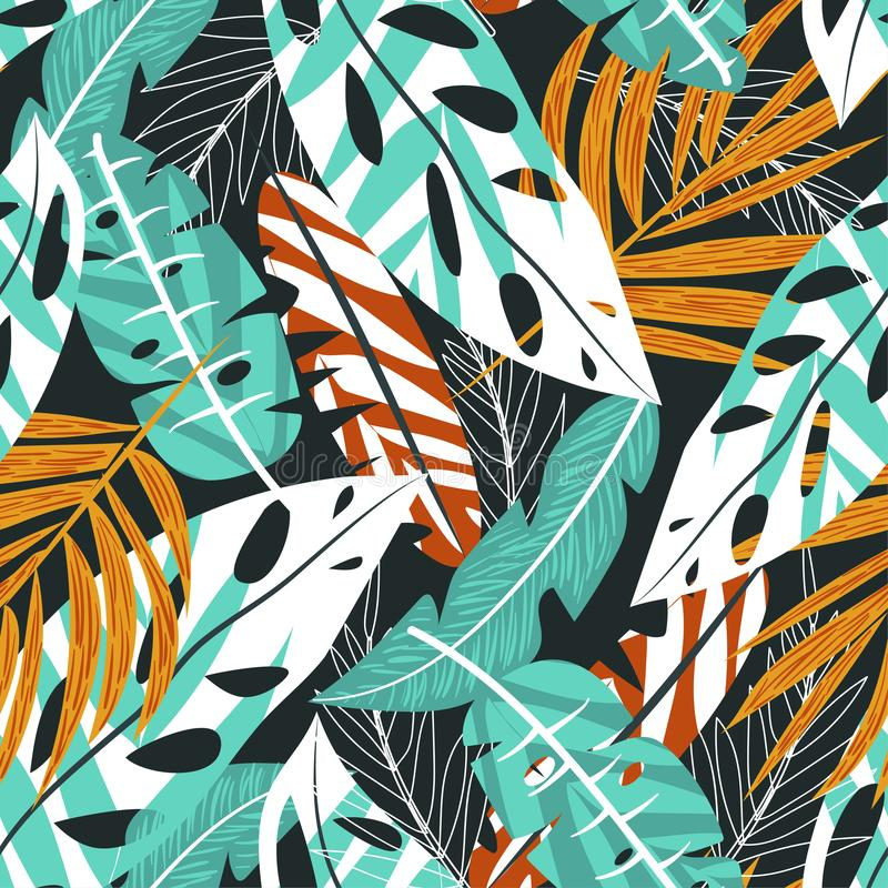 Summer trend seamless background with bright tropical leaves and plants on gray background. Vector design. Jungle print. Floral ba stock illustration