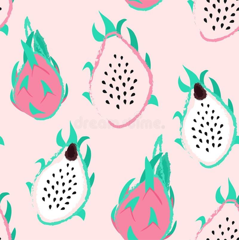Dragon fruit pattern. Tropical vector seamless texture. vector illustration