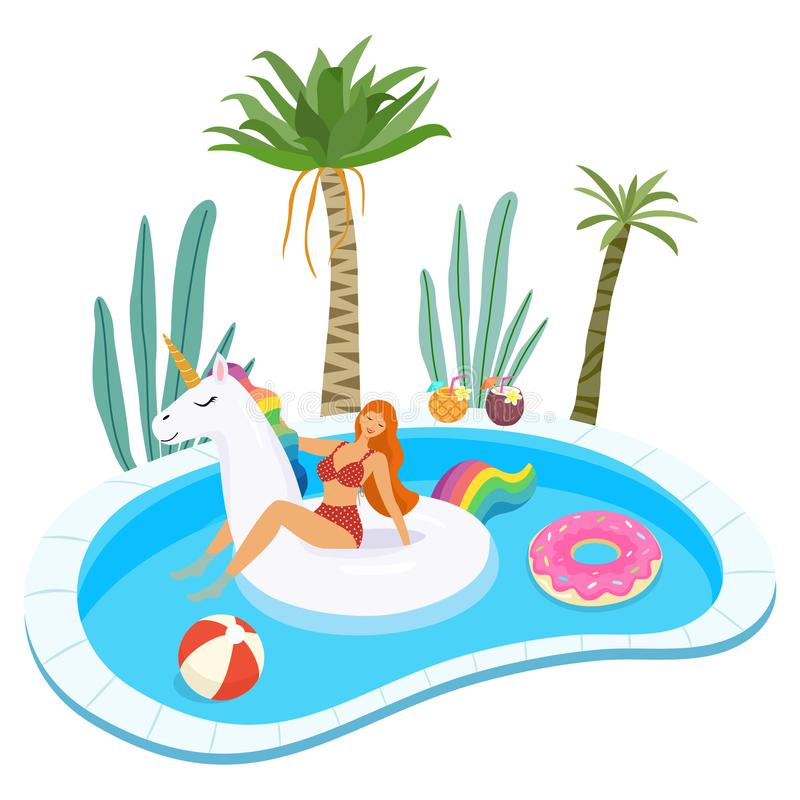Summer illustration of girl in swimsuit with inflatable pool floats relaxing in the pool. Vector template. stock illustration