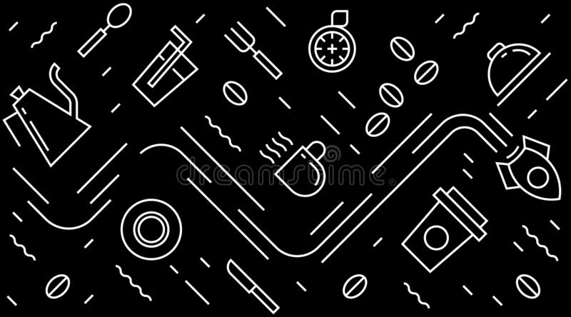 Flat line design for caffee, restaurant, wall art, background, packaging, pattern, etc. black and white modern geometric doodle st. Black and white modern stock illustration